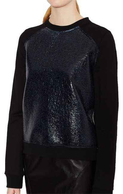 Marna Ro Faux Leather Downtown Funky Two-tone Sweatshirt