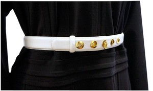 St. John ST JOHN ACCESSORIES WHITE LEATHER MEDIUM WIDTH WAIST BELT GOLD 28