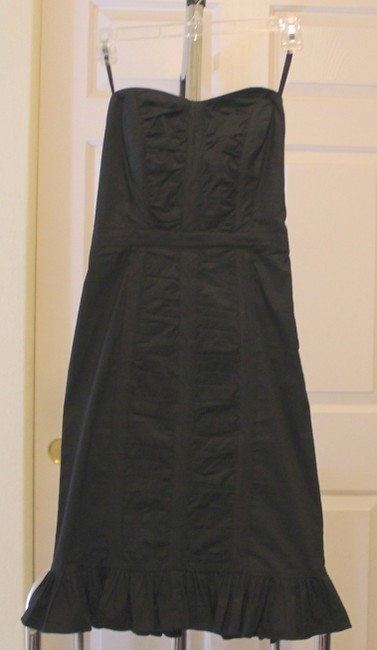 Le Château Ruffle Stretchy Fitted Hidden Zipper Lined Bust Flattering Fit Dress