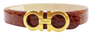 Salvatore Ferragamo SALVATORE FERRAGAMO GANCINI CROCODILE EMBOSSED LEATHER COGNAC BELT GOLD BUCKLE S