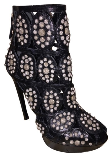 Alexander McQueen Leather Embellished Cutouts Peeptoe Studded black with silver accents Boots