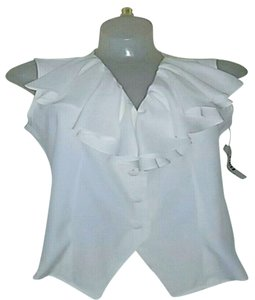 Marisa Christina Ruffles Button Down Button Down Shirt White