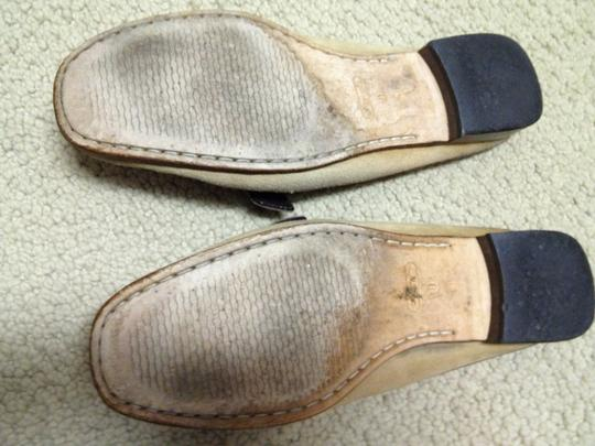 Coach Suede Leather Slide Burnished Gold Tan and Brown Flats