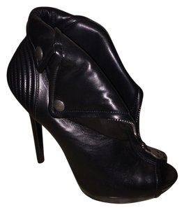 Alexander McQueen Leather Biker Peep Toe black Boots