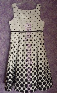 Flower Girl Black & White Polka Dot Size 10