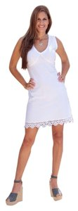 Lirome short dress White Boho Western Summer Bodycon Embroidered Crochet on Tradesy
