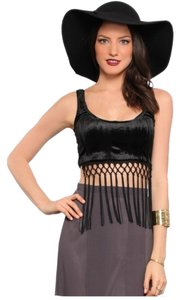 Lip Service Velvet Fringe Crop black Halter Top
