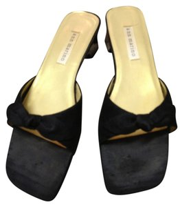 Ann Marino Dupioni Silk Dressy Slide Bow Knot Black Sandals