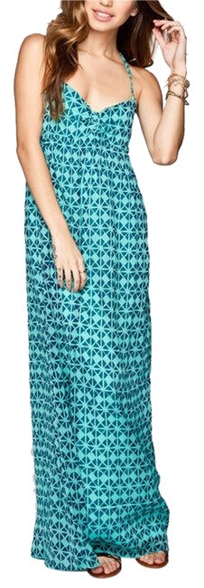 green and blue Maxi Dress by Roxy Summer Maxi Chiffon