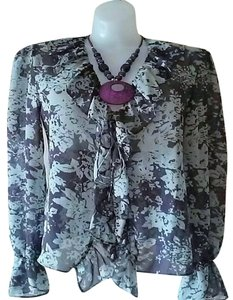 Nicole Miller Ruffle Sheer Purple Grey Top Purple/Grey