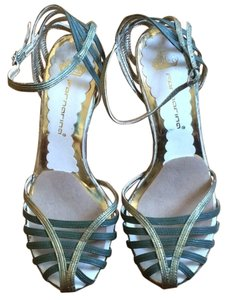 Fornarina Strappy Green & Gold Pumps