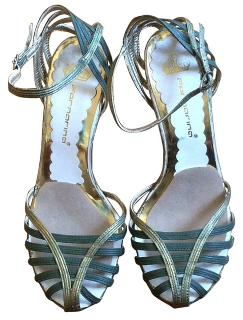 Item - Green & Gold Painted Strappy Heals Pumps Size US 7 Regular (M, B)