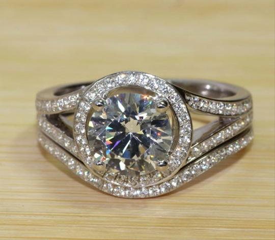 3cttw 2ct Center Nscd Simulated Round Brilliant Diamond Halo Engagement Wedding Ring W/ Band