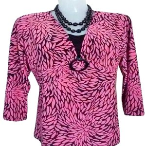 JM Collection Pink Black Leafs Longsleeve Top Pink/Black
