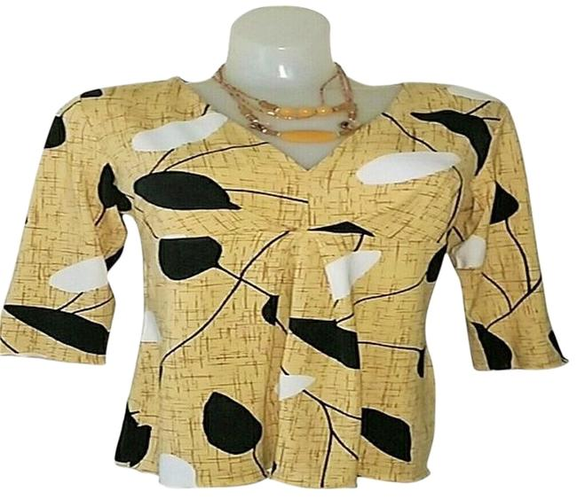 Talbots Abstract V-neck Longsleeve Pullover Top Beige