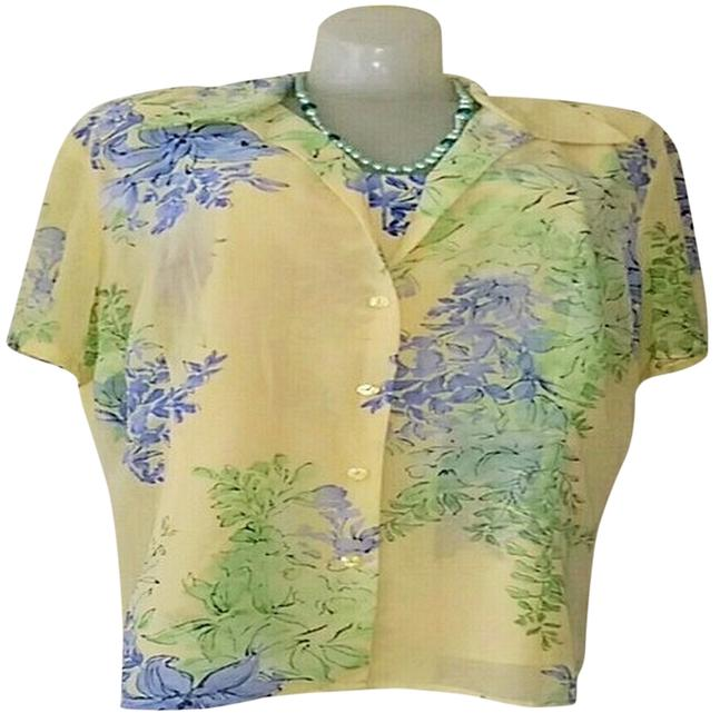 Emma James Tank Sets Floral Short Sleeves Button Down Polyester Machine Washable Top Yellow