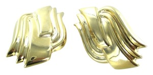 14KT YELLOW GOLD EARRINGS CURVE DESIGN HOLLOW 9.4 GRAMS FINE JEWELRY NO SCRAP