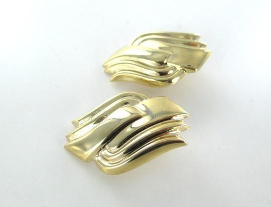 Other 14KT YELLOW GOLD EARRINGS CURVE DESIGN HOLLOW 9.4 GRAMS FINE JEWELRY NO SCRAP