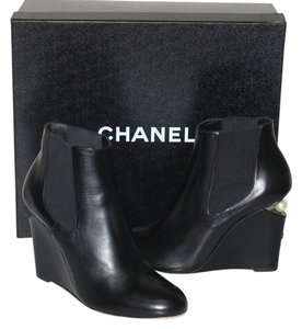 Chanel Italy BLACK LEATHER Boots