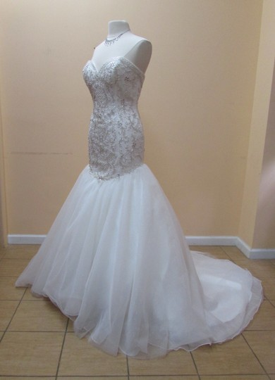 Alfred Angelo Ivory/Silver Satin Tulle Organza 249 Formal Wedding Dress Size 12 (L)