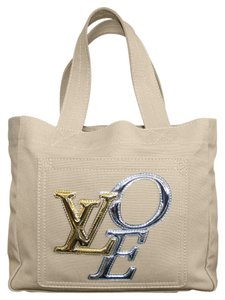 Louis Vuitton Canvas Patent Leather Metallic Love Tote in Beige/Gold/Silver