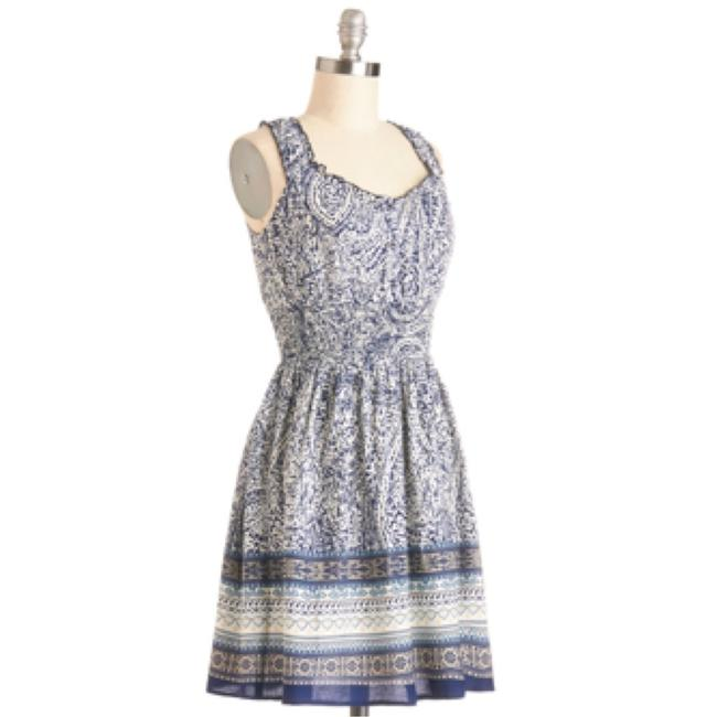 Modcloth short dress White and blue on Tradesy