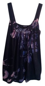 Express Floral Cotton Sequins Jewels Top Navy