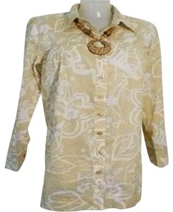 Susan Graver Beige White Button Down Shirt Beige/White