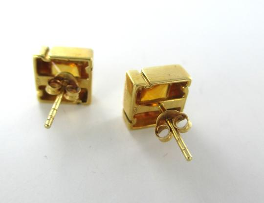 Other 18KT YELLOW GOLD EARRINGS SQUARE CITRINE 5.9 GRAMS FINE JEWELRY NO SCRAP LUXURY