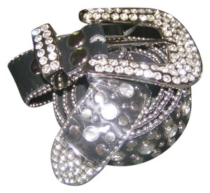 Reduced! Silver Rhinestone Studded Leather Western Belt Free Shipping