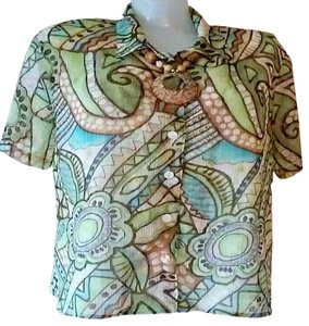 Alfred Dunner Top Green Multi