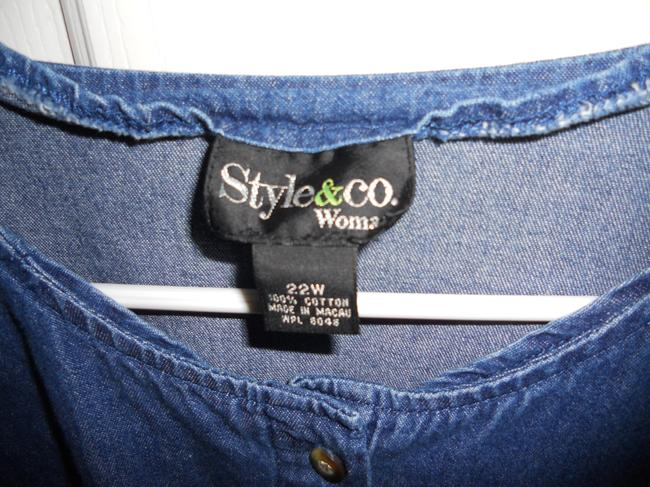 Style & Co Style & Co. Denim Pantsuit with green embroidered trim