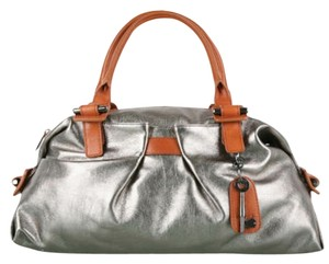 Botkier Satchel in Metallic pewter with brown trim
