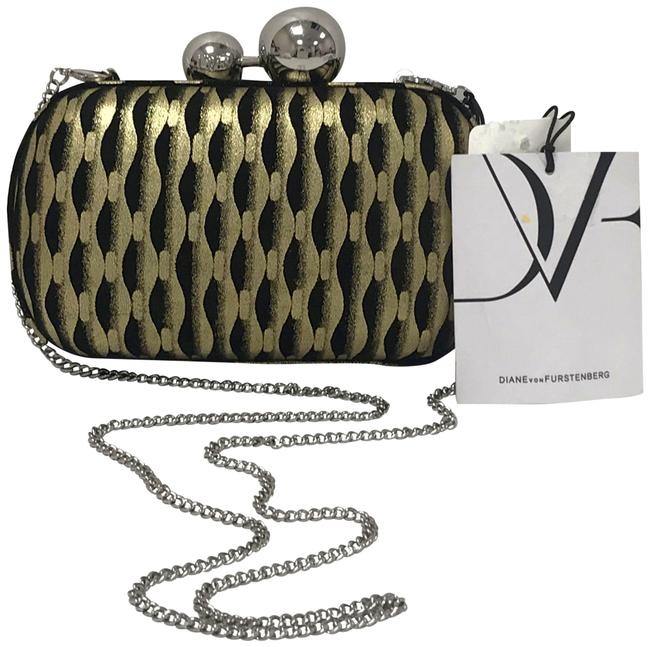 Item - Dvf Tiffany Lame Sphere Miniaudiere & Gold/Black Leather Clutch