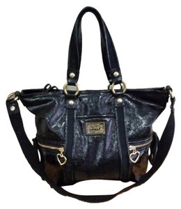 Coach Poppy Liquid Patent Leather Tote in black