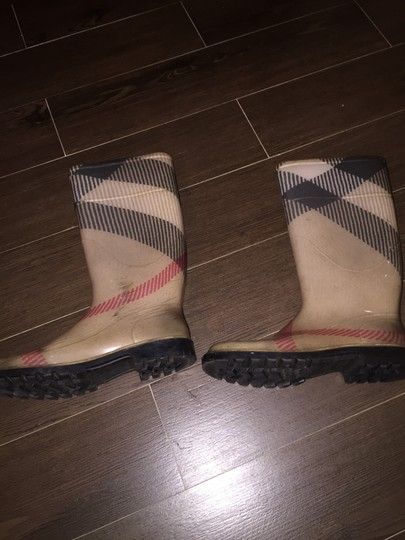 Burberry Tan ( black, red and white) with Burberry stripe Boots