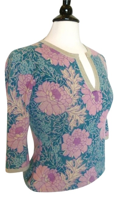 Preload https://item3.tradesy.com/images/neiman-marcus-pink-natural-and-turquoise-classic-sweaterpullover-size-4-s-5185402-0-1.jpg?width=400&height=650