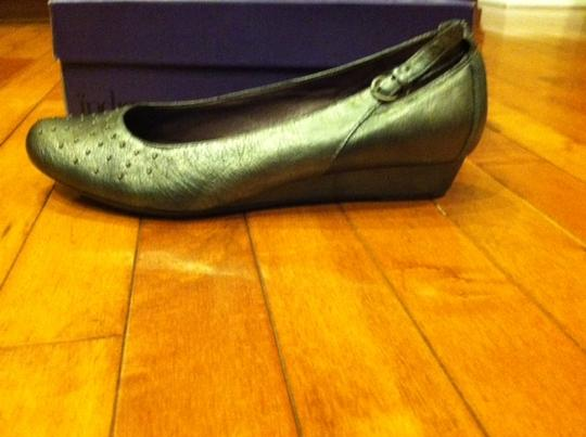 Clarks Leather Wedge Studded Silver Metalic Pumps