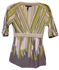 BCBGMAXAZRIA Top Green Grey and White