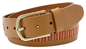 Fossil New! Fossil Brand Camel Tan Leather Belt Laced Woven M