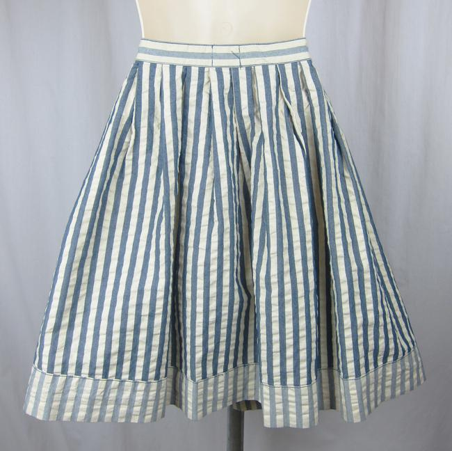 Urban Outfitters Sailor Pinup Retro A-line Full Skirt blue, cream