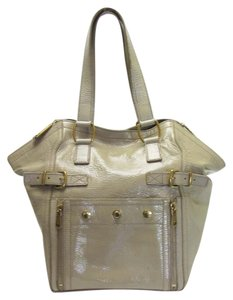 Saint Laurent Yves Patent Patent Yves Yves Patent Tote in Beige