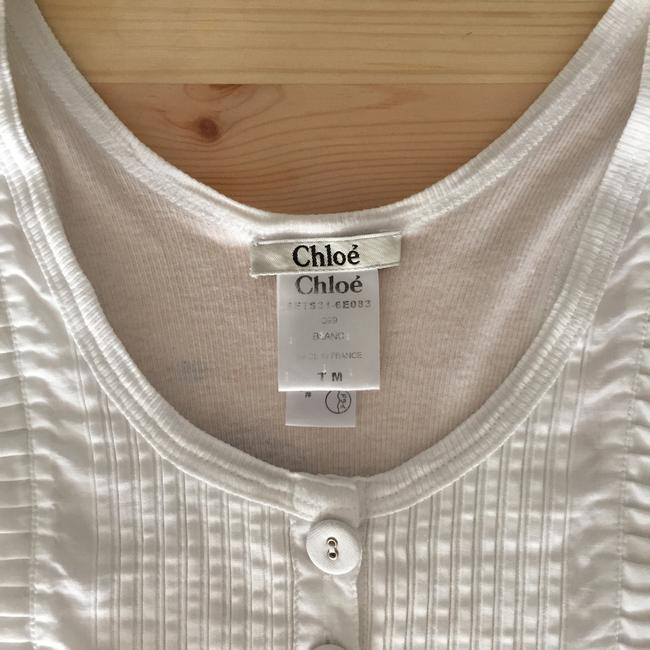 Chloé Tuxedo Camisole Pleat Bib Top White