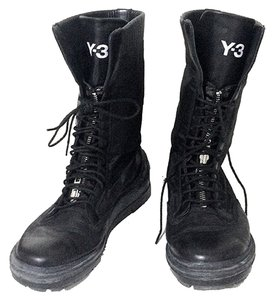 Y-3 Yohji Yamamoto Adidas Leather Nylone Combat Lace Up Military Water Resistant Black Boots