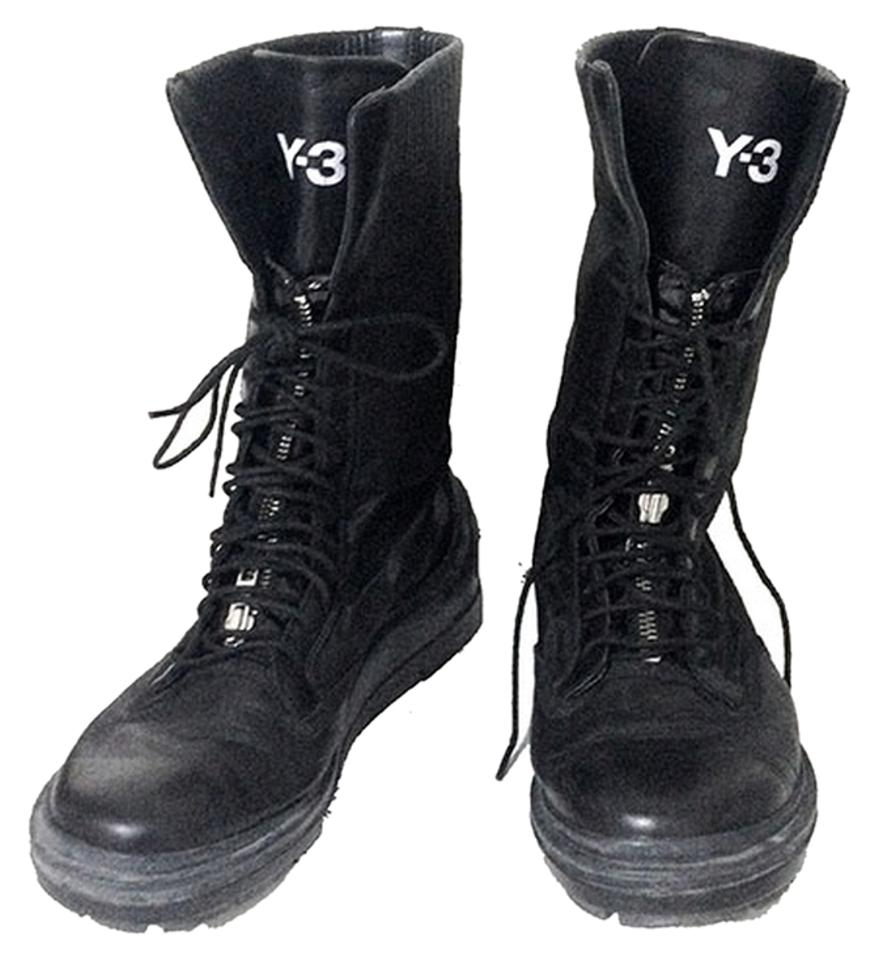 Y-3 Black Up and Zip Front Leather Boots Booties Size US 7 Regular ... d229a69ec3e5