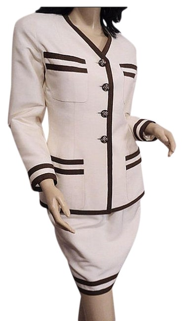 Item - Cream/Brown Silk Jacket Skirt Suit Size 2 (XS)