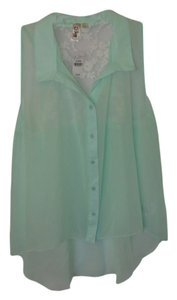 Wet Seal Lace Sheer Sleeveless Button Down Shirt Blue