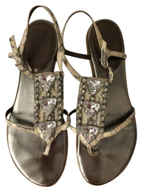 Item - Grey/White Matte Snake Sandals Flats Size US 7 Regular (M, B)