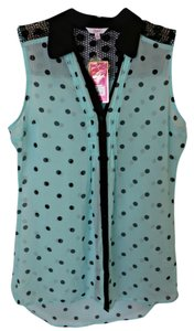 Candie's Polka Dot Sleeveless Button Down Shirt Teal