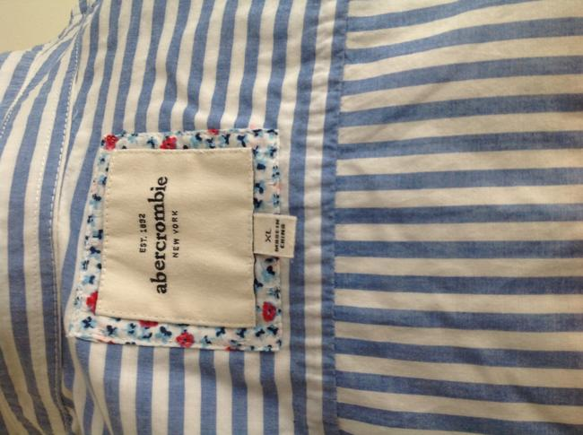 Abercrombie & Fitch Button Down Shirt Blue and white